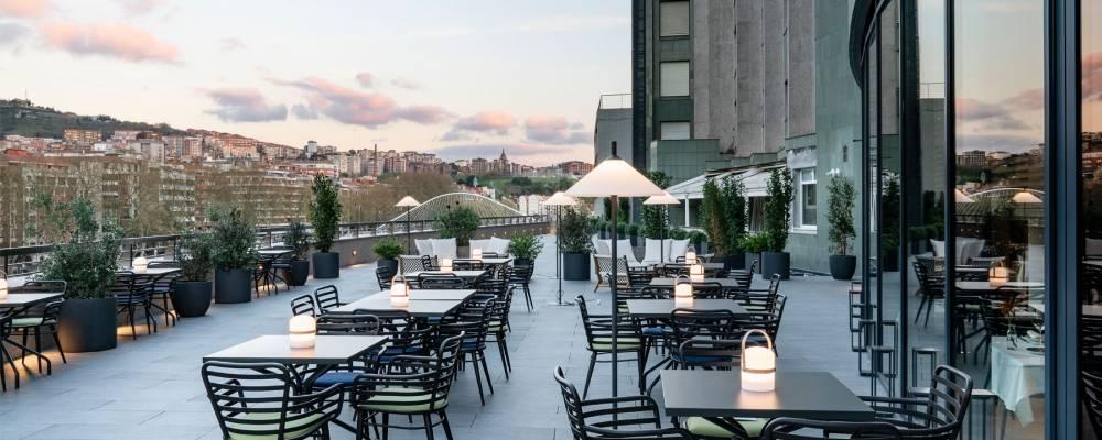 Terraza mirador del hotel Vincci Consulado de Bilbao 4 estrellas