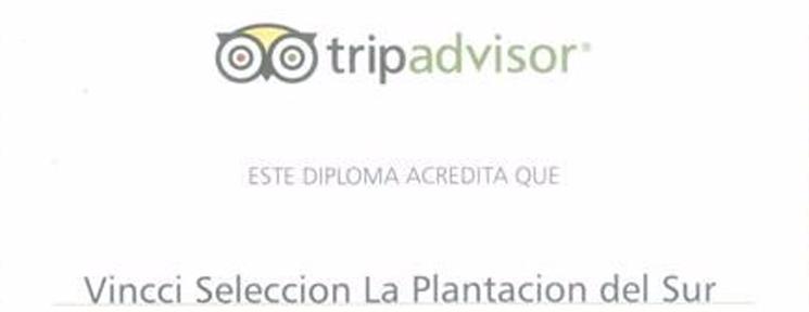 Vincci Selección La Plantación del Sur has been awarded with the Tripadvisor Certificate of Excellence