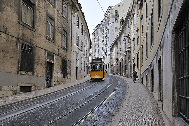 Tram in Lisbon, Portugal.