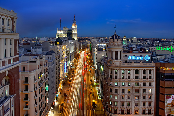 View of Gran Vía from the terrace of the hotel Vincci Capitol 4*.
