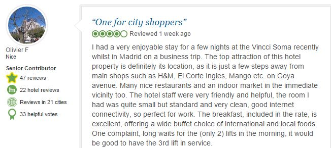 tripadvisor opinion Vincci Soma Madrid