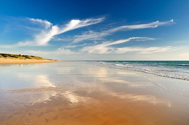 Playa de La Barrosa, Sancti Petri, Cádiz.