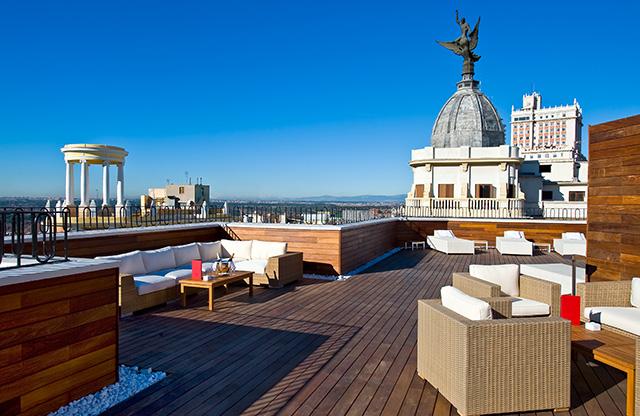 Terraza del hotel Vincci Vía 66 Madrid.