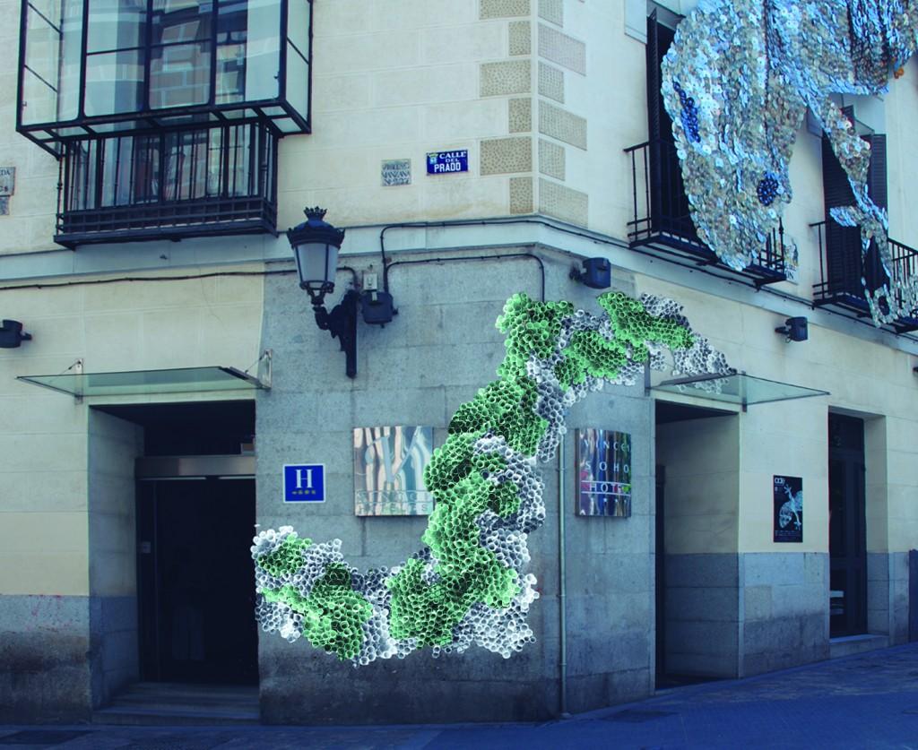 Boceto de la obra en la fachada de Vincci Soho 4* Madrid, DecorAccion 2014