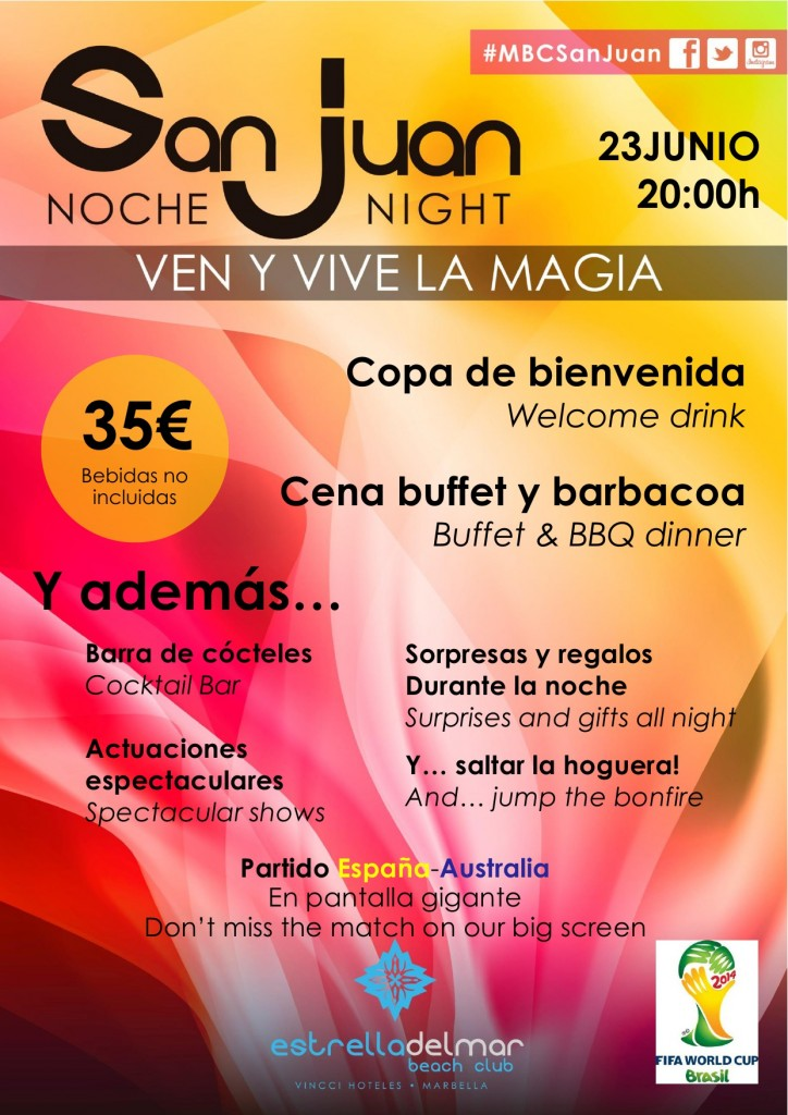 Cartel Beach Club Estrella del Mar de las fiesta de San Juan en Marbella.