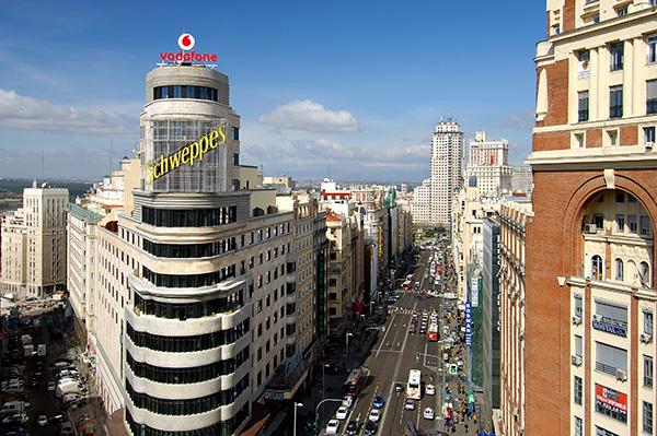 Fachada del hotel Vincci Capitol 4* Madrid. Edificio Carrión.