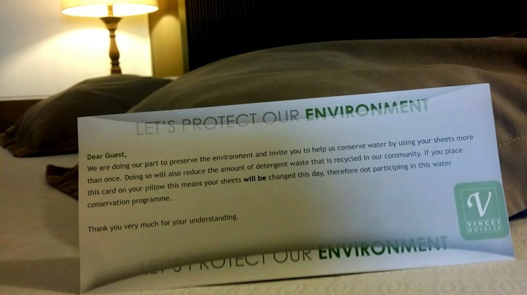 Carta de concienciación sobre medio ambiente para el huésped en el hotel Vincci Selección Buenavista Golf&Spa 5* Lujo.