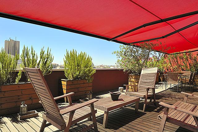 Terraza de habitación dl hotel Vincci Soma Madrid