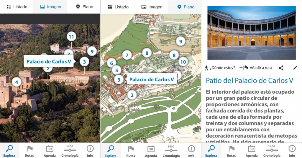 Capturas de la aplicación móvil de la Guía Oficial de la Alhambra. / Foto: App Store.