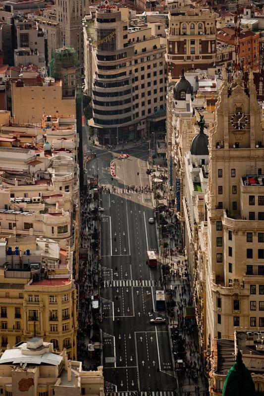 Vistas de la Gran Vía desde helicóptero. / Foto:  Emilio Naranjo.
