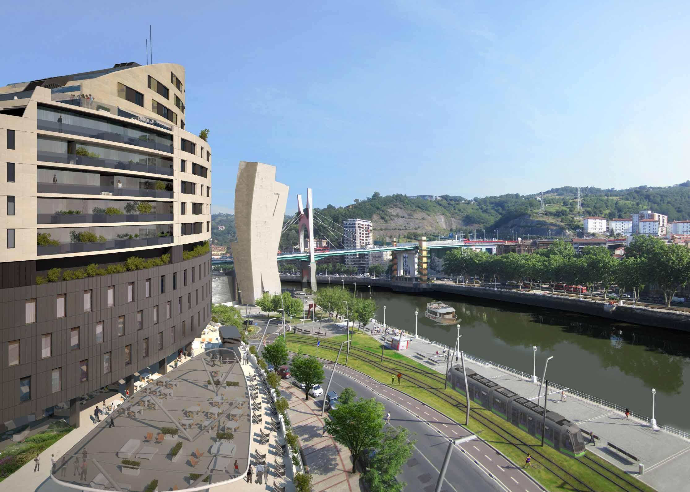 Vincci hoteles abrir un hotel con forma de velero frente for Hotel jardines de bilbao