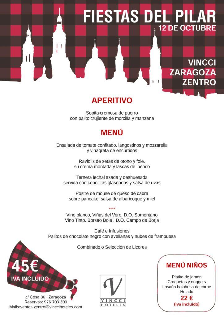 Hotel Vincci Zaragoza Zentro 4* menú El Pilar