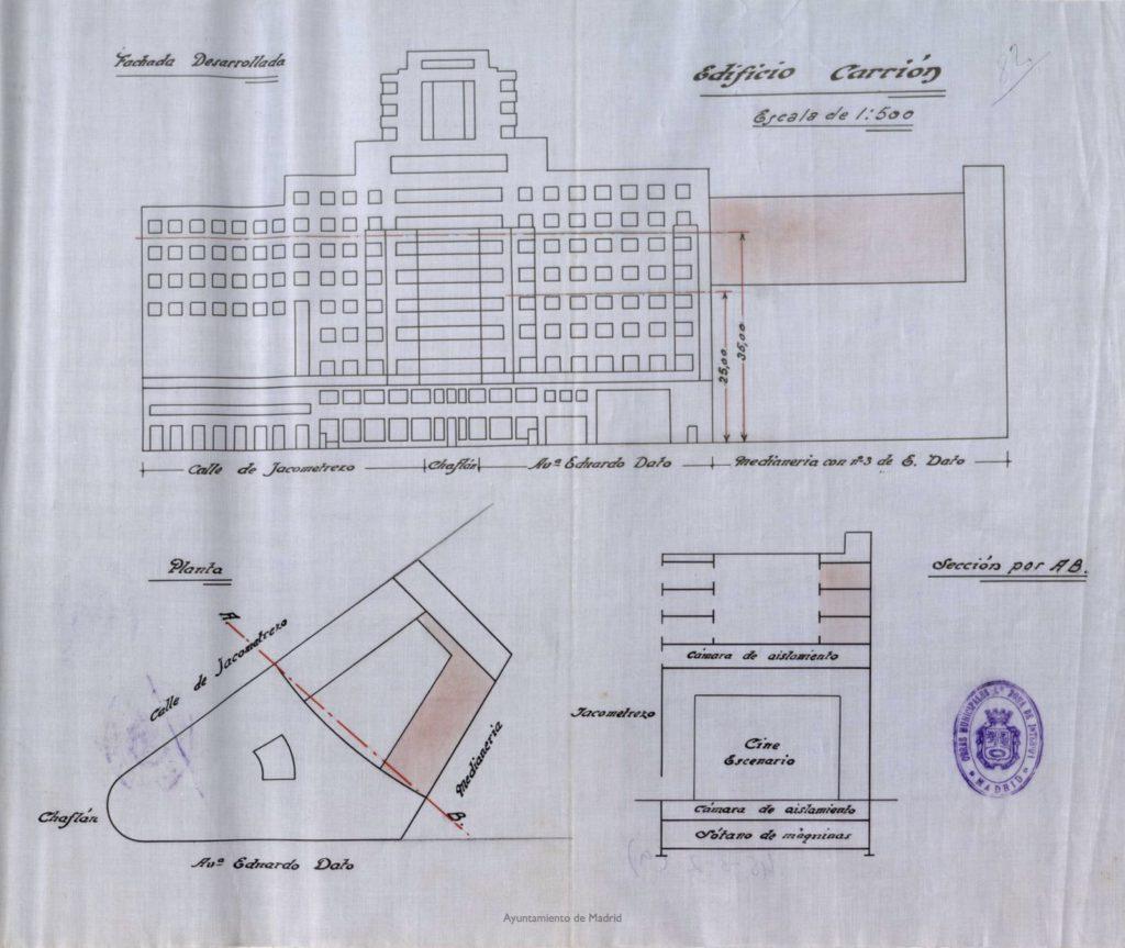 Fachada, planta principal y sección de edificio, Gran Vía 41 (edificio Capitol)