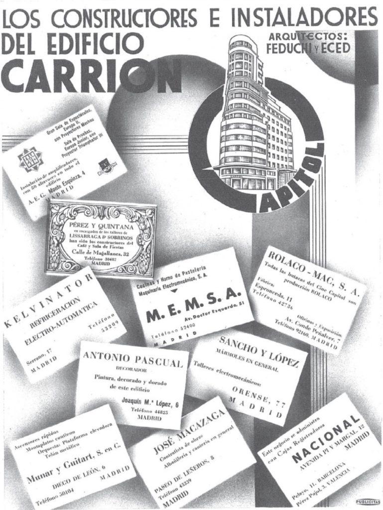 Publicidad extraída de la revista Nuevo Mundo del 27 de octubre de 1933